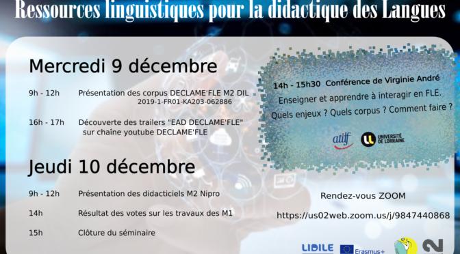 [9-10 décembre 2020] Journées d'études « Ressources Linguistiques pour la didactique des langues »