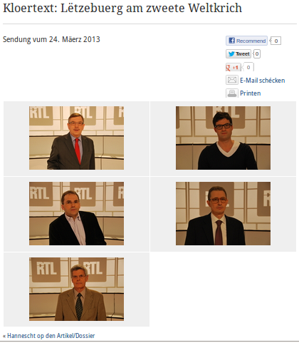 Les intervenants au débat 'Kloertext - Lëtzebuerg am Zweete Weltkrich' sur la télé luxembourgeoise