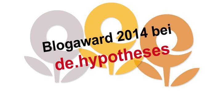 Vorankündigung: de.hypotheses Blogaward 2014 #dehypoAward
