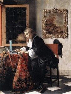 Man Blogging, after Gabriel Metsu