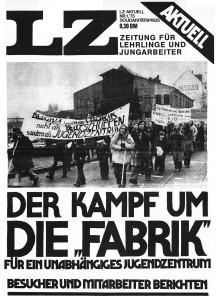 """""""Der Kampf um die 'Fabrik'"""": Titelbild der LZ-Zeitung für Lehrlinge und Jungarbeiter (1/1973)"""