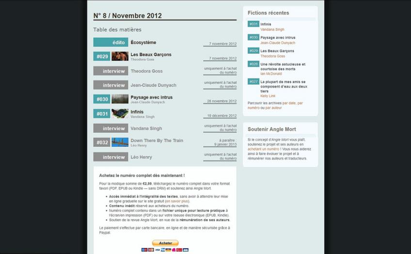 Interface du sommaire de la revue