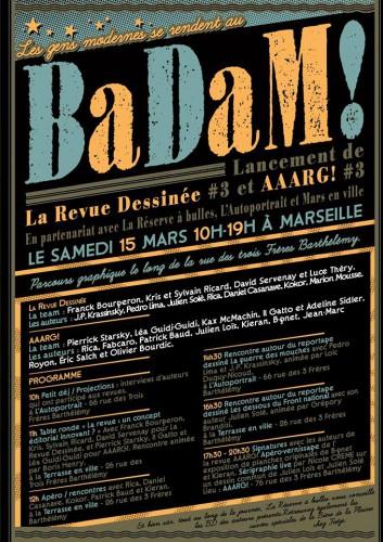 Affiche pour le lancement de La Revue Dessinée #3 et Aaarg! #3