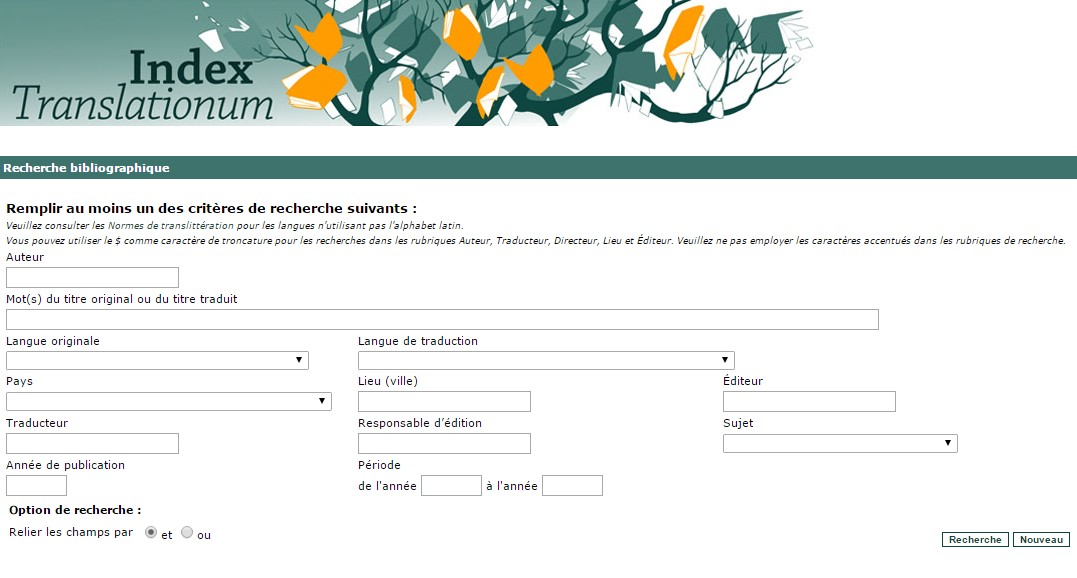 "Imprecran de l""interface de recherche"