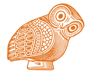 """La chouette d'Athéna : logotype de la série grecque de la """"collection des universités de France"""" des éditions Les Belles Lettres"""