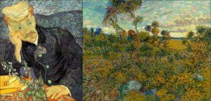Portrait du Dr. Gachet (1890), et Coucher de soleil à Montmajour (1888), peints par Vincent Van Gogh.