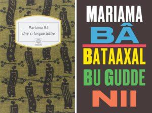 Couverture d'Une si longue lettre de Mariama Bâ en 2004 à gauche et 2016 à droite.