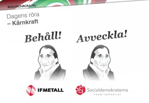 L'Alliansen n'hésite pas à souligner les contradictions existantes entre les positions prises par Stefan Löven à la tête d'IF Metall et celles en tant que chef des Socialdemokraterna(Crédit: http://rodgronrora.nu/)