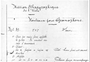 Inventaire des enregistrements sur rouleaux effectués au cours de la mission ethnographique de l'Uele D.R.