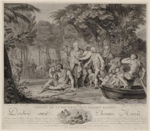 Arrivée de J.-J. Rousseau aux Champs Elisées. CFA Macret d'après Moreau le jeune. BnF, Hennin, 9686