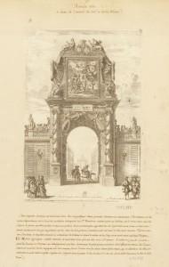 Gravure de Jean Lepautre pour l'entrée de Louis XIV à paris en 1660 dans son montage Fevret de Fontette