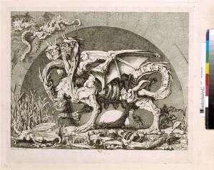 Jean-Louis Desprez. (1742-1804) La Chimère de Mr Desprez. Eau-forte. Ha-52-Fol