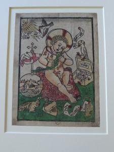Jésus et le perroquet : vœu pour la nouvelle année, gravure sur bois coloriée. Bavière, Haut-Rhin, 1470. BnF, Département des Estampes, Réserve Ea-5 (8)-Boîte écu