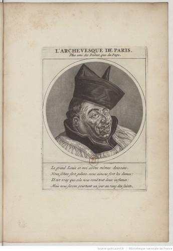 Cornelis Dusart (?) ou Jacob Gole (?), L'Archevêque de Paris (Fr. Harlay de Champvallon), manière noire, 1691, dans Les Héros de la Ligue…, Paris (i.e. Amsterdam). Bibliothèque nationale de France, Qe-41-4