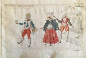 """Costumes pour la première partie du """"Ballet Du chasteau de Bicestre"""", intitulée """"Le Jour"""": Entrée De l'hoste, De l'hostesse et Leur Valet, Atelier de Daniel Rabel, 1632, plume, gouache et aquarelle ; 24 x 40,6 cm"""