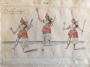 Grand Bal de la douairière de Billebahaut, Ballets de l'Amérique: Entrée Des Androgines, Atelier de Daniel Rabel, 1626, plume, gouache et aquarelle ; 23,5 x 39,1 cm