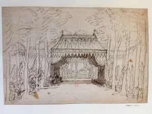 Premier projet pour le Camp de Tancrède, acte II de l'opéra Tancrède (1702), Jean Berain, Dessin à la plume et lavé à l'encre ; 28,5 x 42,5 cm (f.)