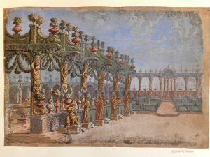 Giacomo Torelli (?), fin du XVIIe siècle?, Dessin à l'aquarelle et à la gouache ; 26,4 x 38,7 cm (f.)