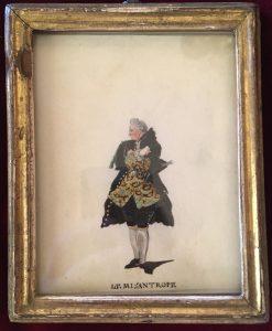 Portraits d'acteurs de la Comédie française et italienne dans leur rôle, LE MISANTROPE, Jean-Louis Fesch et Whirsker, 1770, Dessin sur vélin : gouache et encre ; 12,3 x 9,8 cm (cadre)