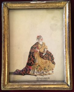 Portraits d'acteurs de la Comédie française et italienne dans leur rôle, PULCHERIE : dans Héraclius, Jean-Louis Fesch et Whirsker, 1770, Dessin sur vélin : gouache et encre ; 12,2 x 9,4 cm (cadre)