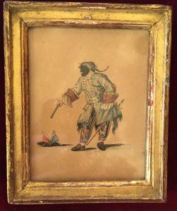 Portraits d'acteurs de la Comédie française et italienne dans leur rôle, Arlequin en soldat dans Arlequin : enfant, statue et perroquet, Jean-Louis Fesch et Whirsker, 1770, Estampe : eau-forte, gouache et encre ; 12,3 x 10,2 cm (cadre)