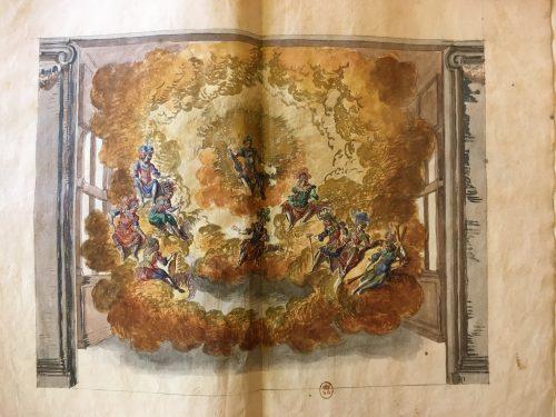 Quatrième décor : Apollon et les Muses, descendant du ciel dans les nuées ou le Parnasse, Ballet du Roy aux festes de Bacchus, dansé par Sa Majesté au Palais Royal, le 2e jour de May 1651, Paris : R. Ballard, 1651, 1 livret imprimé augmenté de dessins aquarellés et rehaussés de gouache et d'or : encre, gouache et aquarelle ; 33,4 x 22,1 cm
