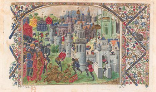 Paris, BnF, Estampes, AA-2 (Rive, Jean-Joseph), f. 77r. Gravure peinte d'après la vignette représentant La Prise et le sac de Jérusalem par le roi Antiochos, contenue dans le Livre de Bouquechardière de Jean de Courcy, enluminé par le Maître de l'Échevinage vers 1460 (Paris, BnF, Mss, Fr. 210124, f. 331r), modèle pour la planche n. 2 de l'Essai sur l'art de vérifier l'âge des miniatures peintes dans des manuscrits… de l'abbé Rive