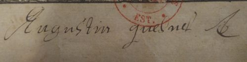 Signature d'Augustin Quesnel, sur la page de titre