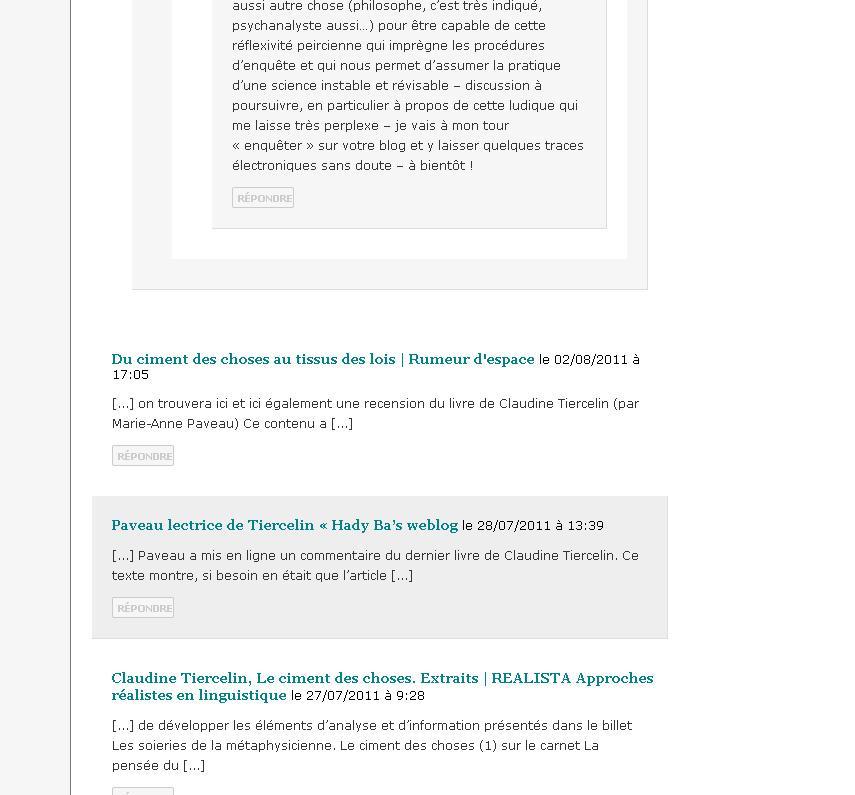 Abbildung 32: Pings im Blog La pensée du discours