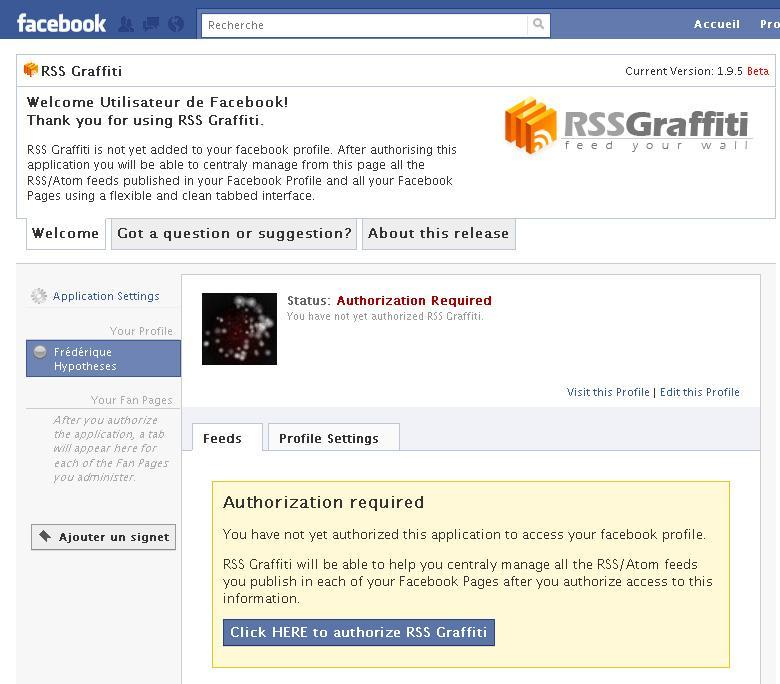 Abbildung 37: RSS graffiti, ein Programm, um mit RSS auf Facebook zu publizieren