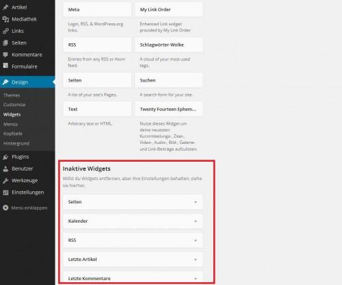 Bloghaus - inaktive Widgets