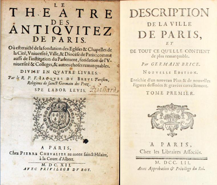 Deux pages de titre de Guides de Paris