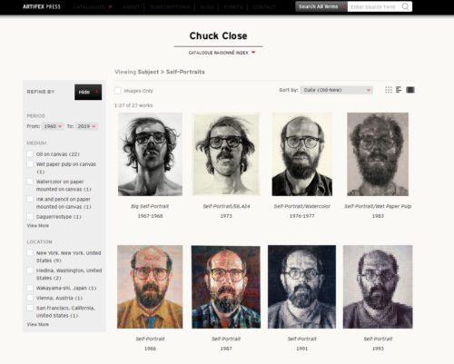 Capture d'écran du catalogue raisonné en ligne de l'oeuvre de Chuck Close. Navigation à travers les autoportraits de l'artiste.