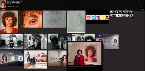 Capture d'écran du catalogue raisonné en ligne de l'oeuvre de Chuck Close. Ici une oeuvre mise en relation avec de nombreux documents