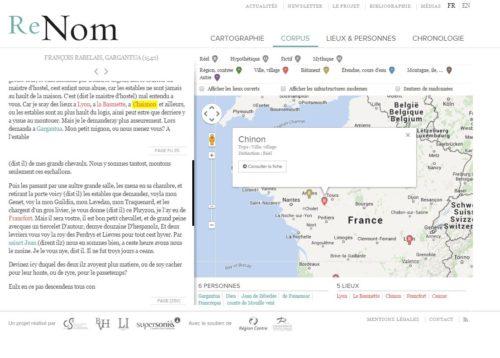 Interface web Gargantua de Rabelais Geolocalisé