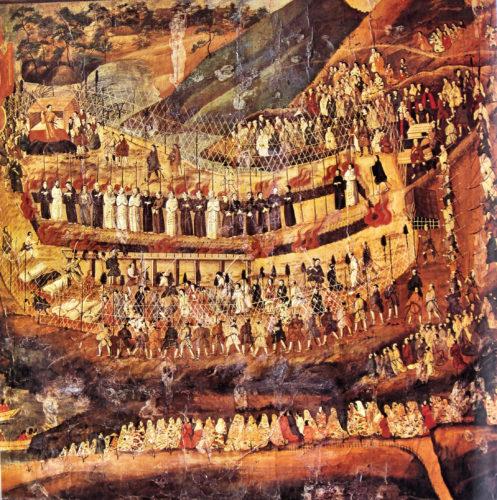 Grand martyre de Nagasaki de 1622 (peintre inconnu ; Macao ; conservée à l'église du Gesù), vers 1625