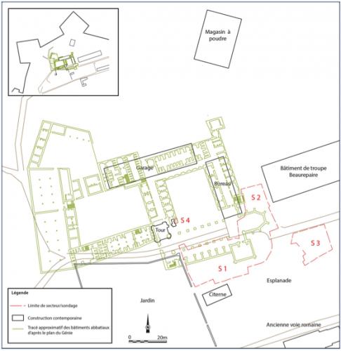 Fig. 1 — Plan de l'emprise de la fouille avec positionnement de l'abbaye