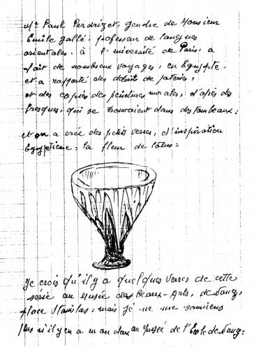Témoignage de René Dézavelle sur le rôle de Paul Perdrizet dans la création de verreries égyptisantes aux Établissements Gallé (© The Glasfax Newsletter)