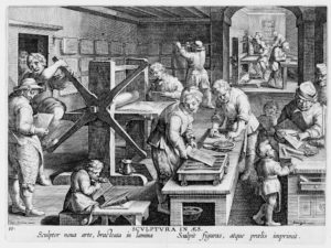 "Jan Collaert I, ""Invenção da Gravura em Cobre"", c.1600, Gravura em Metal, 27 x 20 cm (In Nova Reperta, grav. 19)"