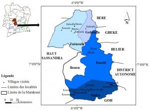 Figure 1 - Localisation des sites de l'enquête