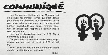 Communiqué lesbiennes de Montréal, <em>Les Têtes de Pioche</em>, vol. 2, n°4, p.5.