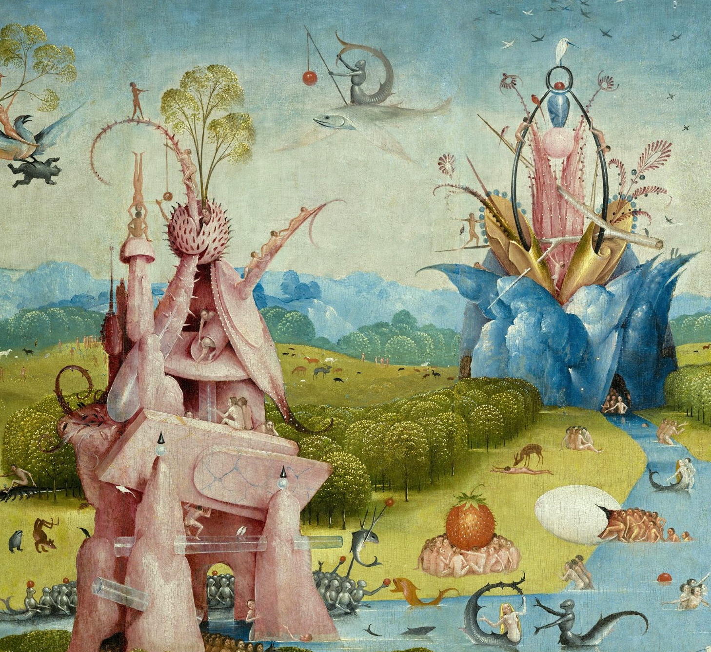 Bosch, Le Jardin des délices - panneau central haut gauche