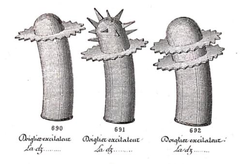 Extrait d'un catalogue de la maison Frédéric représentant 3 doigtiers, fin XIXe
