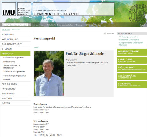 Invitation en résidence 2020 / Pr. Dr. Jürgen SCHMUDE