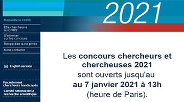 Concours Chercheurs et Chercheuses CNRS – édition 2021