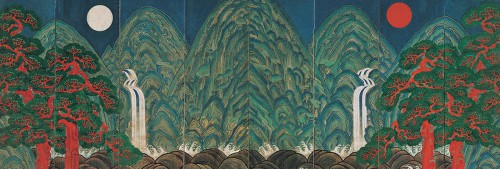 Sun, Moon, and Five Peaks, 19th century, KoreaEight-fold screen; colors on paper, overall 210 x 552.3 cm, Private Collection