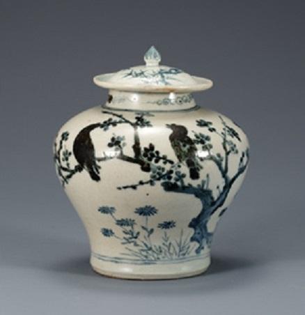 Jar, White Porcelain with Plum, Bamboo and Bird Design, Joseon dynasty, Korea, 15th-16th century, H. 16.5 cm, National Museum of Korea, National Treasure No. 170