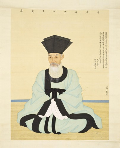 Pyon Sangbyok (Korea, 1725-1775), Portrait of Scholar-Official Yun Bonggu (1681-1767) in his Seventieth Year, Korea, Joseon dynasty (1392-1910), dated 1750, hanging scroll, ink and color on silk. Purchased with Museum Funds.