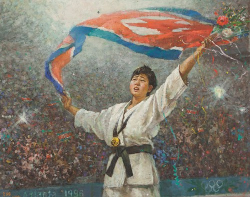 Copyright Han Hŭi-bok (Central Arts Studio), Kye Sun-hŭi, North-Korean judo athlete that at age 16 surprisingly won a golden medal during the Olympic Games in Atlanta, oil on canvas, collection Ronald de Groen.