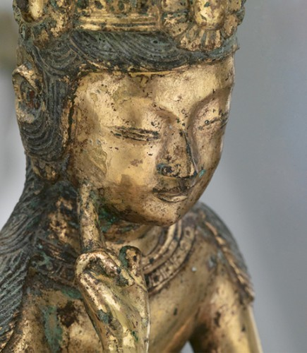 Pensive bodhisattva, mid-7th century. Three Kingdoms period (57 B.C.–A.D. 668). Korea. Gilt bronze; H. 8 7/8 in. (22.5 cm); W. 4 in. (10.2 cm); D. 4 1/4 in. (10.8 cm). The Metropolitan Museum of Art, New York, Purchase, Walter and Leonore Annenberg and The Annenberg Foundation Gift, 2003 (2003.222)
